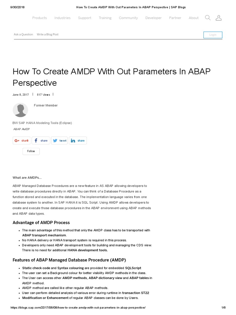 How to Create AMDP With Out Parameters in ABAP Perspective _