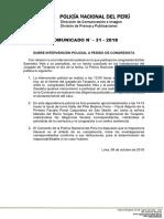 COMUNICADO PNP N° 31 - 2018