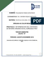 DETERMINACION DEL CONTENIDO DE MATERIA ORGANICA EN EL AGREGADO FINO