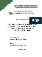 Informe de Tesis Magistral