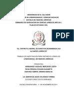 El Contrato Laboral de Duración Determinada.sus Alcances Juridicos