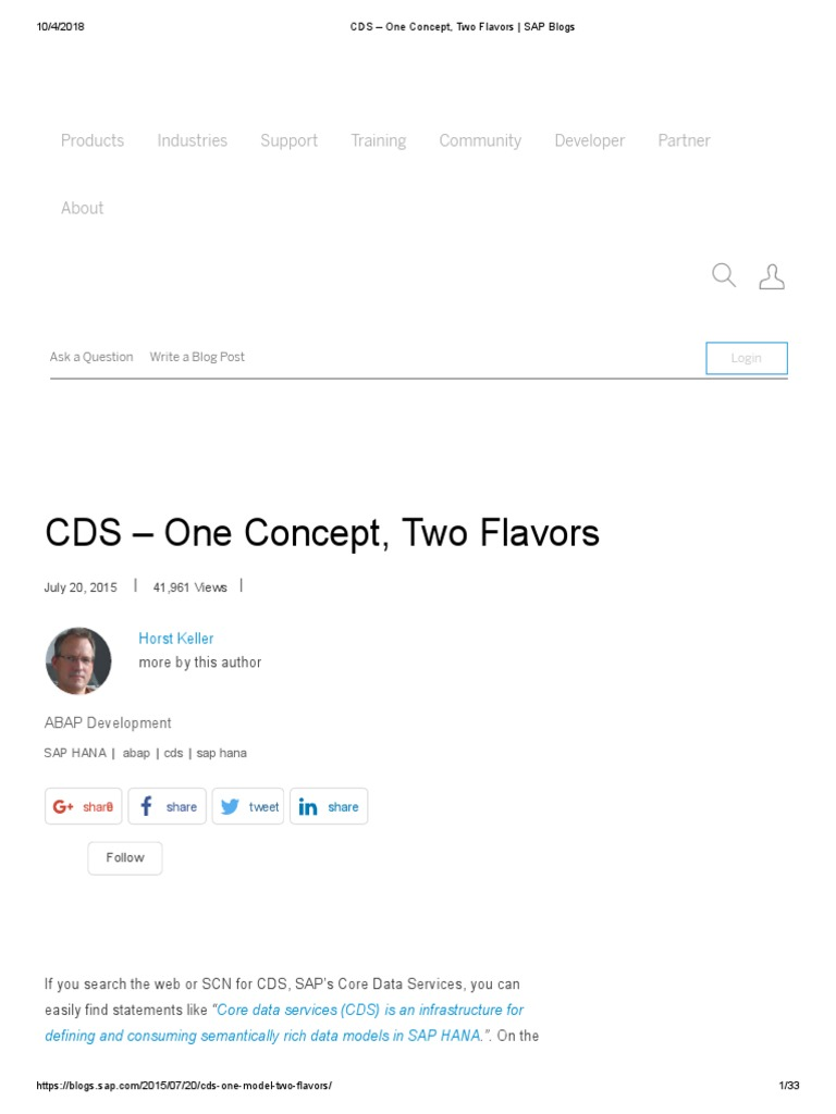 CDS – One Concept, Two Flavors _ SAP Blogs | Databases | Sql