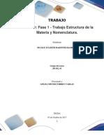 Trabajo Colaborativo – Unidad 1 Fase 1 - Estructura de La Materia y Nomenclatura_Grupo 201102_61_Nicole Martinez
