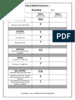 basic skills testing recording sheet