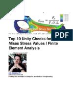 Top 10 Unity Checks for Von Mises Stress Values - Finite Element Analysis