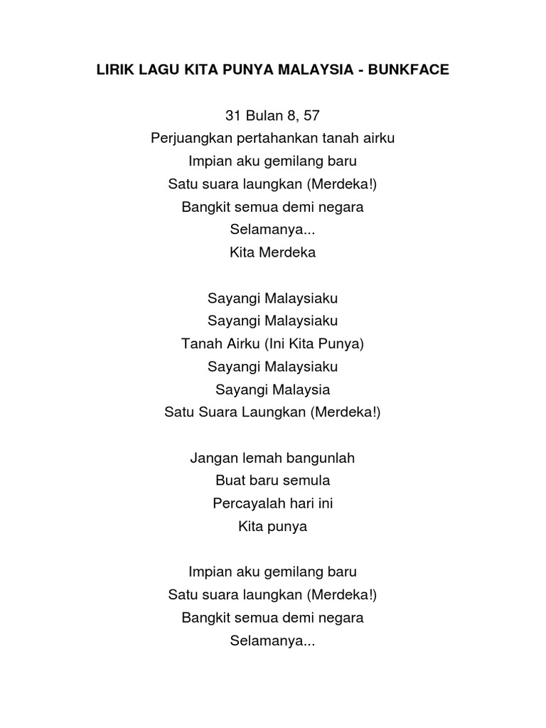 Lirik Lagu Kita Punya Malaysia