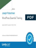 J. Potischman WordPress EssentialTraining Certificate of Completion