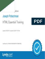 J. Potischman HTML Essential Training Certificate of Completion