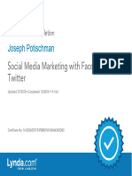 J. Potischman Social Media Marketing with Facebook andTwitter Certificate of Completion