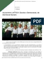 RESENHA CRÍTICA_ Escola e Democracia, De Dermeval Saviani. – Ombudsteacher