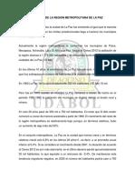 Analisis de La Region Metropolitana de La Paz