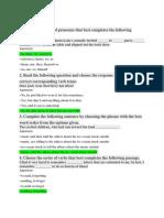 Test Questions - English Basics