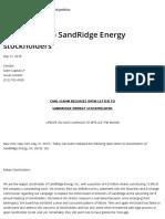 Open Letter to SandRidge Energy Stockholders – Carl Icahn