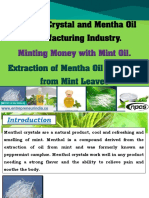 Menthol Crystal and Mentha Oil Manufacturing Industry