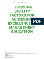 Assessing Quality Factors for Achieving Excellence in Management Education  [www.writekraft.com]