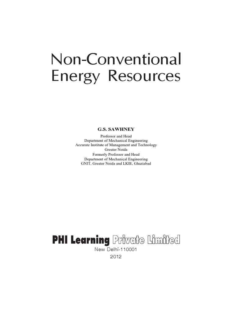 Sawhney GS  2010 Non Conventional Energy Resources | World