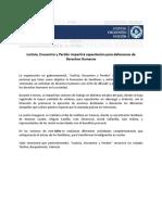 NDP - Justicia, Encuentro y Perdón Capacita Defensores de DDHH