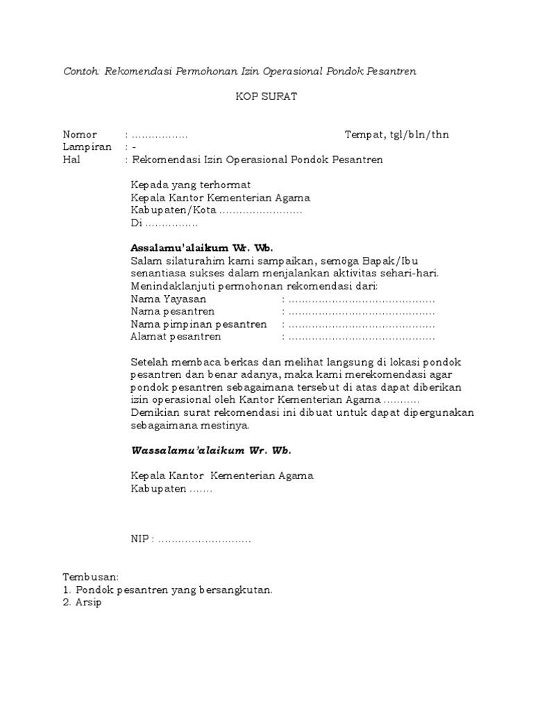 Contoh Rekomendasi Ponpesdocx