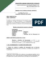 Modelo de Demanda Civil de Resolución de Contrato - Autor José María Pacori Cari