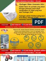 K Link Hydrogen Water Generator H2 Mini Boalemo WA 08114494181