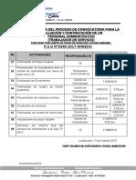 Cronograma de Convocatoria 2018 Trabajador Servicio