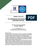 PRIMERA CIRCULAR-VII Jornadas Nacionales de Historia Social