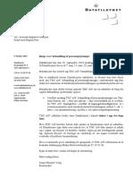 Datatilsynets brev til TDC med trussel om politianmeldelse