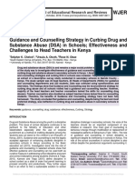 Guidance and Counselling Strategy in Curbing Drug and Substance Abuse (DSA) in Schools; Effectiveness and Challenges to Head Teachers in Kenya
