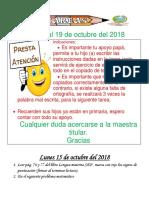 Tareas 1° Del 15 al 19 de OCTUBRE 2018