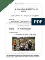 INFORME DE LIQUIDACION DE OBRA POR CONTRATA SANEAMIENTO