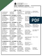 October 13, 2018 Yahrzeit List