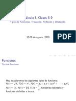 Clases 8-9. Tipos de Funciones. Traslación, Reflexión y Dilatación (1)
