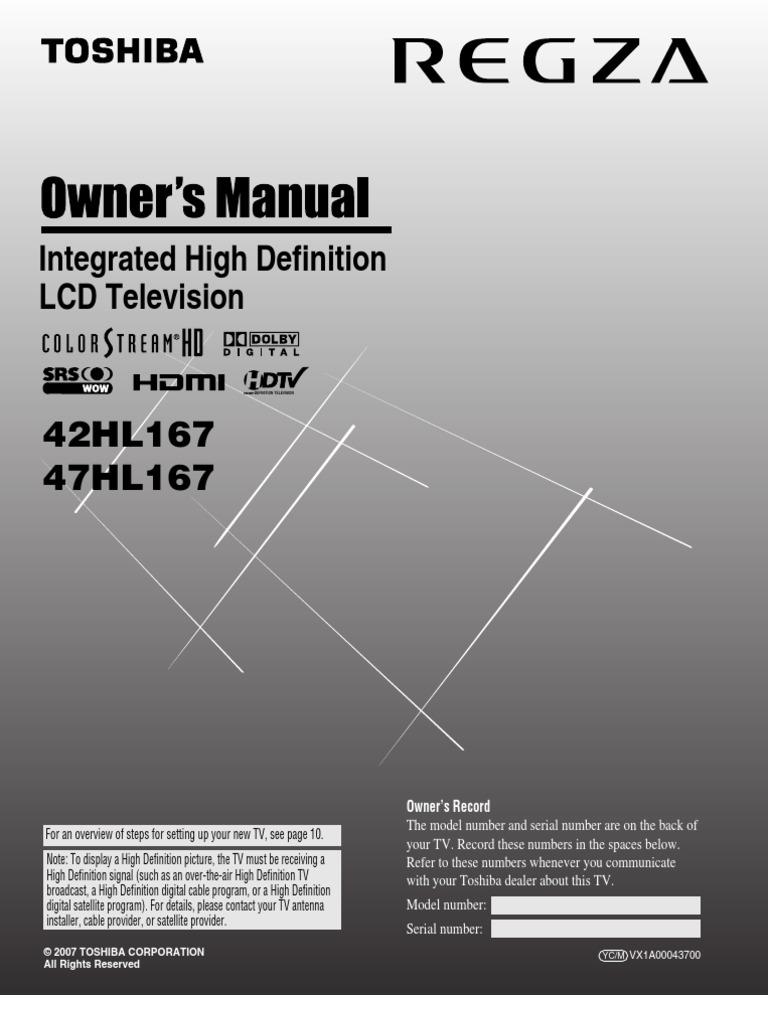 Toshiba Regza Model 42hl167 S Ma362112438 Hdmi Video Tv Wiring Diagrams