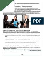 Ejemplos de Objetivos Para CV Sin Experiencia _ Modelo Curriculum