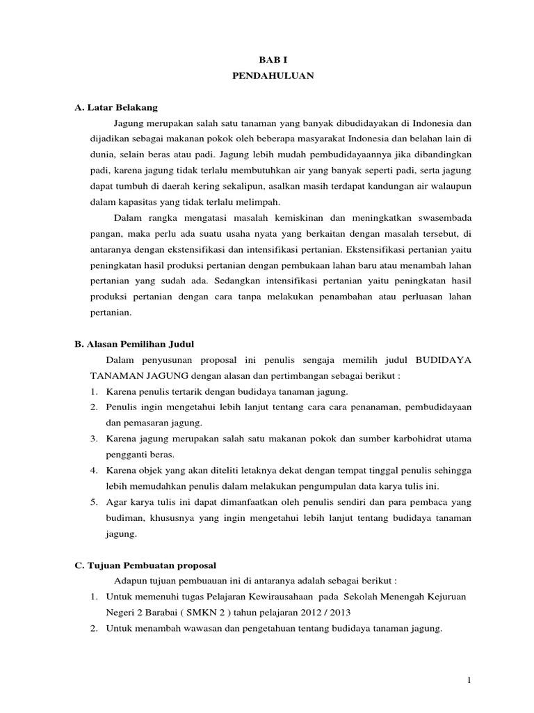 Proposal Budidaya Tanaman Pangan Coretan