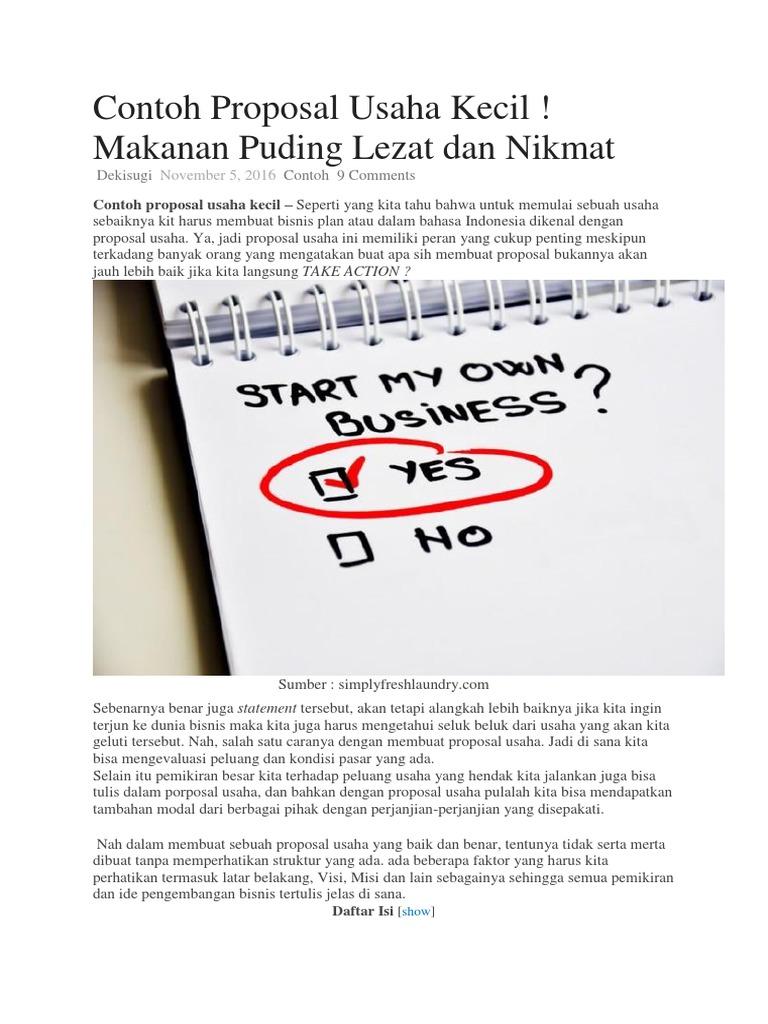 Contoh Proposal Usaha Kecil