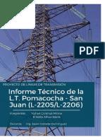 Informe Tecnico de Torres de Transmision de La l. t. Pomacocha - San Juan 220 Kv