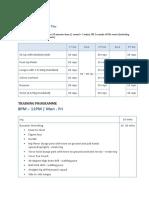 Badminton Training Programme Schedule