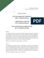 Los valores de certeza del condicional