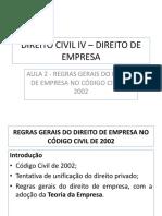 Aula 2 - Regras Gerais Do Direito de Empresa No Código