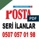 Posta Seri İlanlar Antalya Telefon Numarası İletişim