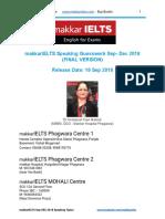 IELTS Makkar Speaking Sep to Dec 18 - Version 18 Sep