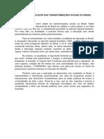 o Valor Da Educação Nas Transformações Sociais Do Brasil
