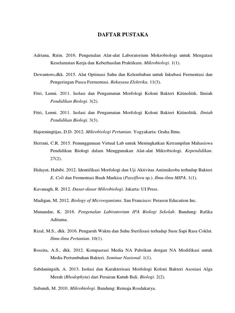 Contoh Daftar Pustaka Laporan Mikrobiologi