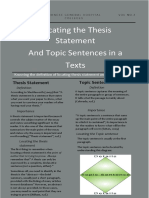 Topic Sentence and Thesisstatement