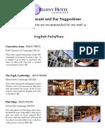 Restaurant Recommendations Cambridge