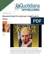 Miracolo Di Paolo Vi Monito Per i Singoli e Per La Chiesa