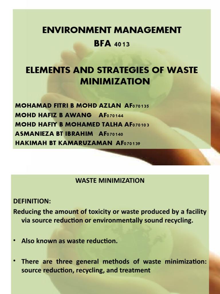 Elements of Waste Minimization