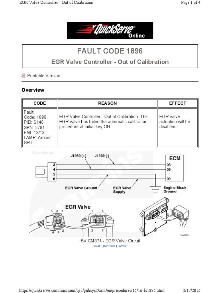 Cummins - ISX 450 EGR Valve Fault Code 1896 pdf | Valve
