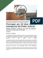 Prorrogan por 45 días más la emergencia del Poder Judicial